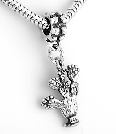 STERLING SILVER PRICKLY PEAR CACTUS DANGLE EUROPEAN BEAD