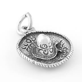 STERLING SILVER 3D SOMBRERO HAT CHARM/PENDANT