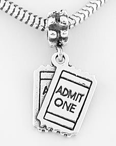 STERLING SILVER DANGLING MOVIE TICKETS EUROPEAN BEAD
