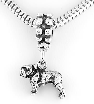 STERLING SILVER DANGLING 3D BULLDOG EUROPEAN BEAD