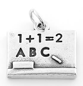 STERLING SILVER SCHOOL TEACHER'S CHALKBOARD CHARM