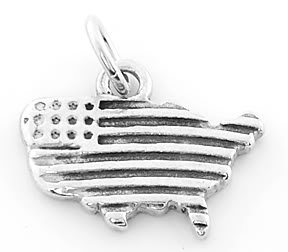 STERLING SILVER USA MAP WITH STARS AND STRIPES CHARM/PENDANT
