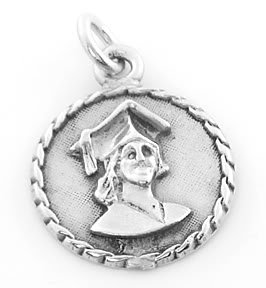 STERLING SILVER GRADUATION GIRL CHARM/ PENDANT
