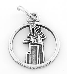 STERLING SILVER GOLF CLUB AND BAG CHARM/ PENDANT