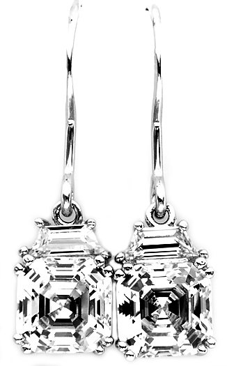 STERLING SILVER DANGLING CZ ASSCHER CUT EARRINGS