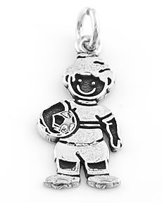 """STERLING SILVER """"BOY WITH SOCCER BALL"""" SOLID CHARM"""