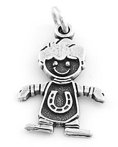 """STERLING SILVER """"BOY WITH HORSESHOE"""" CHARM"""