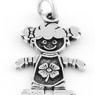 """STERLING SILVER """"GIRL WITH LUCKY CLOVER"""" CHARM"""