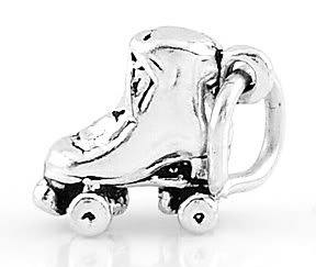 STERLING SILVER 3D SMALL ROLLER SKATE CHARM/PENDANT