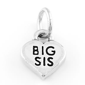 STERLING SILVER BIG SIS HEART CHARM/PENDANT