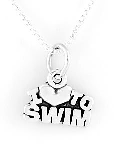 """STERLING SILVER I LOVE TO SWIM CHARM WITH 16"""" NECKLACE"""