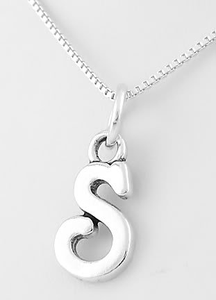 """STERLING SILVER LETTER S CHARM WITH 16"""" NECKLACE"""