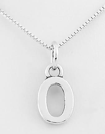 "STERLING SILVER LETTER O CHARM WITH 16"" NECKLACE"