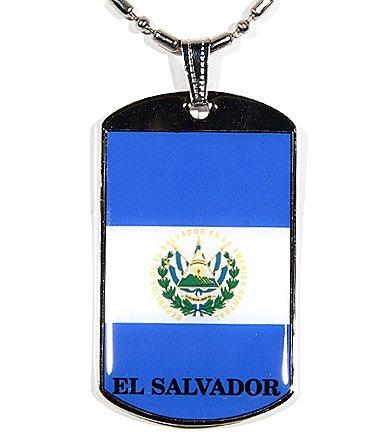 El Salvador Flag Polymer Glazed Color Dog Tag