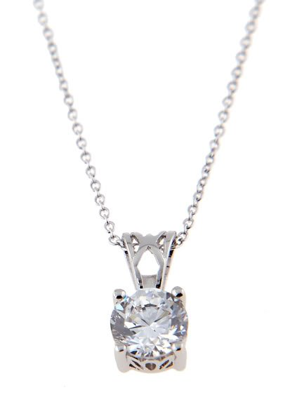 STERLING SILVER CZ ROUND SOLITAIRE PRONG BASKET SET NECKLACE