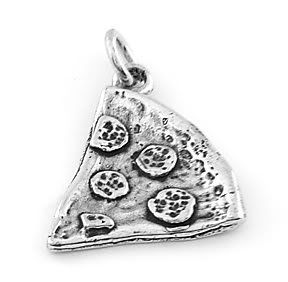 STERLING SILVER PIZZA SLICE CHARM/PENDANT