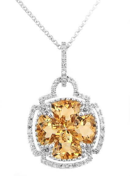 14K GOLD CITRINE AND DIAMOND LUCKY CLOVER NECKLACE