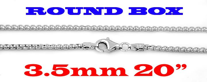 """STERLING SILVER 3.5mm ITALIAN ROUND BOX CHAIN 20"""" NECKLACE"""