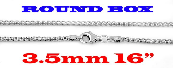 """STERLING SILVER 3.5mm ITALIAN ROUND BOX CHAIN 16"""" NECKLACE"""