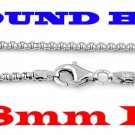"""STERLING  SILVER 1.8mm ITALIAN ROUND BOX CHAIN 18"""" NECKLACE"""