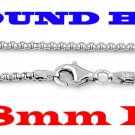 """STERLING SILVER 1.8mm ITALIAN ROUND BOX CHAIN 16"""" NECKLACE"""