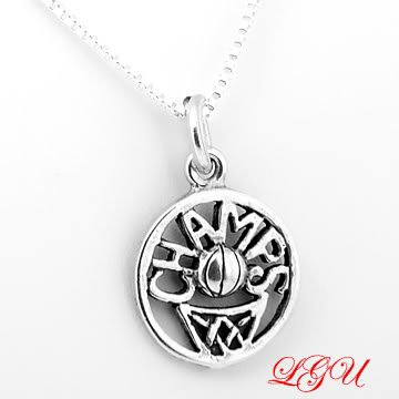 STERLING SILVER BASKETBALL CHAMPS CHARM & BOX CHAIN NECKLACE