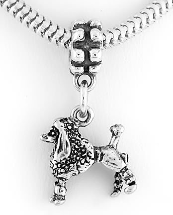STERLING SILVER DANGLING FRENCH POODLE EUROPEAN BEAD