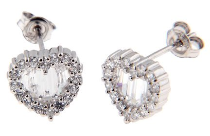 STERLING SILVER CUBIC ZIRCONIA HEART CUT STUD EARRINGS