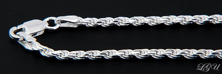 "STERLING SILVER 4mm ITALY DC ROPE CHAIN 20"" NECKLACE"