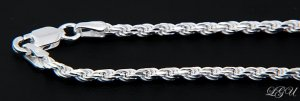"""STERLING SILVER 2mm ITALY DC ROPE CHAIN 18"""" NECKLACE"""