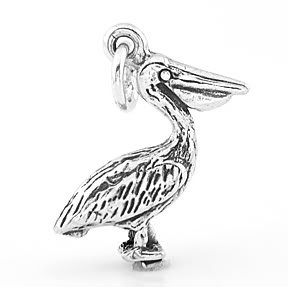 STERLING SILVER 3D PELICAN CHARM/PENDANT