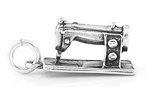 STERLING SILVER 3D MEDIUM SEWING MACHINE CHARM/PENDANT