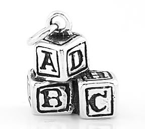 STERLING SILVER 3D BABY BUILDING BLOCKS CHARM/PENDANT