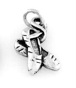 """STERLING SILVER BALLERINA POINT SHOES CHARM WITH 16"""" BOX CHAIN"""