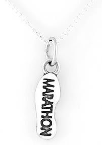 """STERLING SILVER MARATHON SHOW PRINT CHARM with 16"""" NECKLACE"""