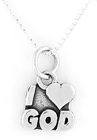 """STERLING SILVER I LOVE GOD CHARM WITH 16"""" NECKLACE"""
