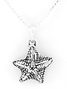 """STERLING SILVER STARFISH CHARM WITH 16"""" NECKLACE"""