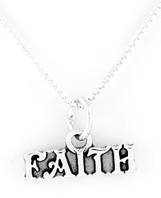 "STERLING SILVER FAITH CHARM WITH 16"" NECKLACE"