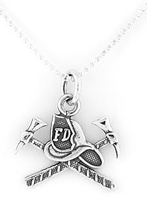 STERLING SILVER FIRE DEPARTMENT HAT CHARM with 16 inch NECKLACE