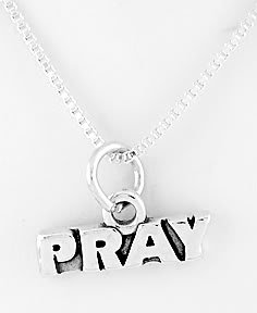 STERLING SILVER PRAY CHARM WITH NECKLACE