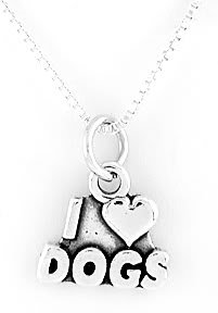 "STERLING SILVER I LOVE DOGS CHARM & 16"" BOX CHAIN"