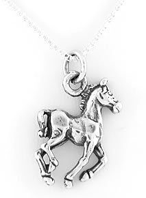 "STERLING SILVER HORSE CHARM WITH 16"" NECKLACE"
