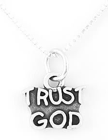 """STERLING SILVER TRUST GOD CHARM WITH 16"""" NECKLACE"""