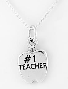 """STERLING SILVER #1 TEACHER CHARM WITH 16"""" NECKLACE"""