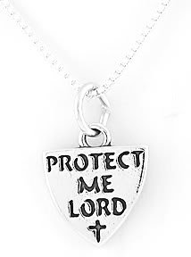 STERLING SILVER PROTECT ME LORD CHARM NECKLACE