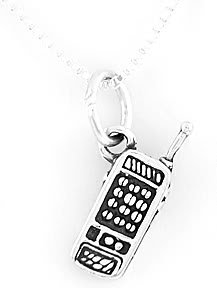 """STERLING SILVER CELL PHONE CHARM WITH 16"""" NECKLACE"""