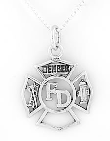 STERLING SILVER FIRE DEPARTMENT MEMBER CHARM with 16 inch NECKLACE