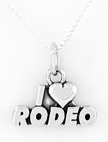 STERLING SILVER I LOVE RODEO CHARM NECKLACE