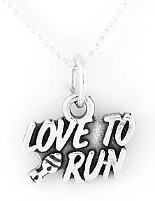 STERLING SILVER LOVE TO RUN CHARM WITH NECKLACE