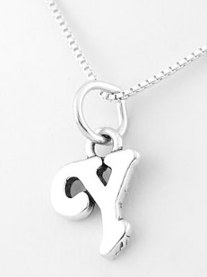 STERLING SILVER LETTER Y CHARM WITH NECKLACE 16""